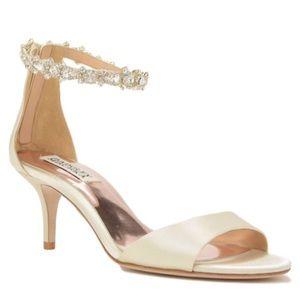 Badgley Mischka jeweled ankle strap evening shoe